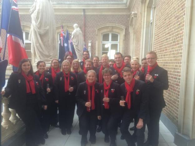 The choir enjoys drinks at the Mayoral Reception, Amiens.