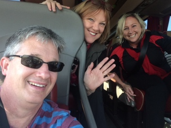 On the road! Voices of Birralee Anzac Commemoration Choir's conductor Paul Holley with Artistic Director Julie Christiansen and Operations & Events Manager Rochelle Manderson.