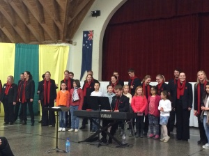 An encore was requested, so the choir sung Waltzing Matilda and were joined by local school children.