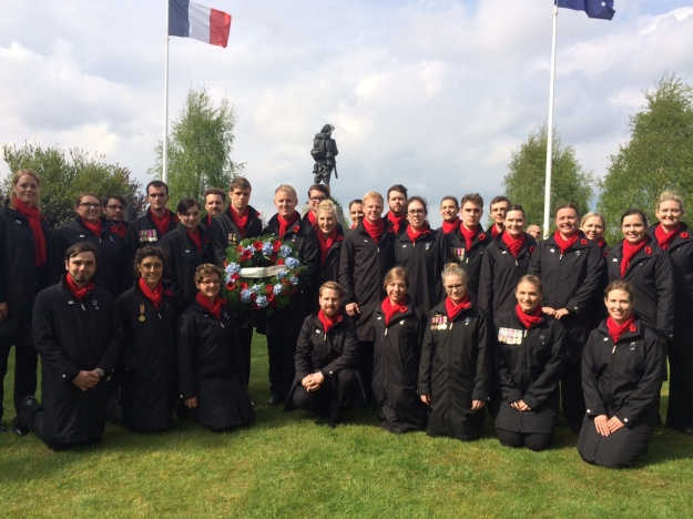 Group photo of the choir prior to laying the wrath on behalf of the Voices of Birralee.