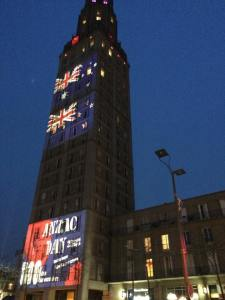 Amiens is full of Australian & French flags, the lights on the tower remind us why we are here!