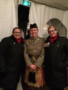 Natasha Calderbank and Beth Price with Jesse the piper. Jesse will play one song with the band and choir and then up to the tower. It is going to get a little chilly for him with the kilt on!