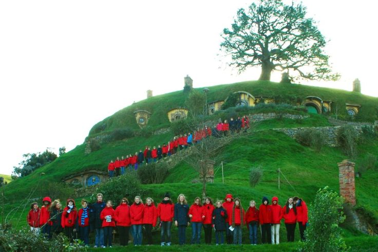 Brisbane Birralee Voices visit New Zealand's  Hobbiton on their tour in 2012.