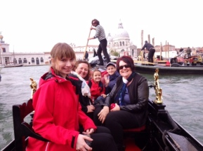 Bridie and Anne on a gondola in Venice with the Cooks.