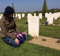 A picture from 2015, when Sam first visited Cooney's grave.