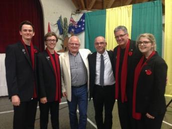 The Mayor of Villers-Bretonneux Mayor of Villers-Bretonneux, Patrick Simon, with Deputy Mayor M. Benoit, with Paul Holley OAM and choristers Oli, Matt, Paul and Em.