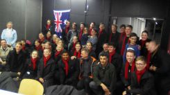 Anzac Day Commemoration Choir with Allonville locals.