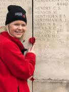 Caitlin Freeman finding her Great Great Great Cousin's name on the Australian National Memorial Wall.