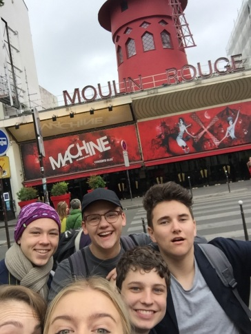Checking out the Moulin Rouge (by Ally)