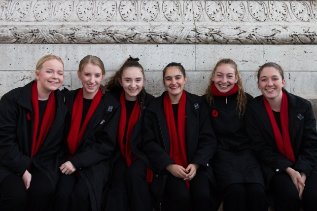 The Anzac Day Commemoration Choir performs at the Arc de Triomphe (Pics by Jack W)