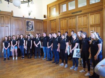 Our choristers are greeted by the Mayor (pic by Brian)