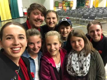 Meg, Chris, Kate and Adaya with some of the local Villers-Bretonneux kids (pic from Chris)