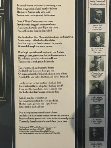 A beautiful poem in the Franco Australian Museum (pic by Kerry)
