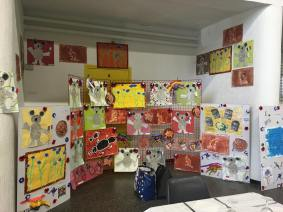 Artwork at the Covered Market, Villers-Bretonneux, made by the local children.