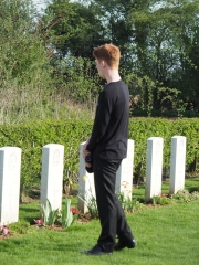 James paying respects at Allonville Cemetery (Pic Brian)