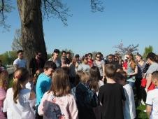 School children gather to hear the children sing (pic by Brian)