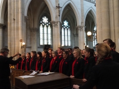 The choir performs the music for the service.