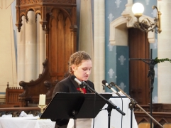 Kate Holley reads for the mass (pic by Brian)