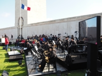 Rehearsing with the Australian Army Band at the Australian National Memorial (Pic by Brian)