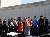 Our choristers rehearsing at the Australian National Memorial (Pic by Brian)