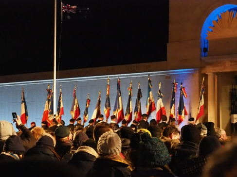 The procession of France Veterans flags (pic by Brian)