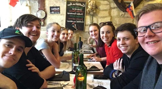 The crew having lunch after checking out the Eiffel Tower and Notre Dame (pic from Chris Wood)