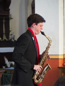 Daniel Elvery performs saxophone during the concert (pic Chris)