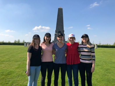 Choristers Tess, Meg, Tilly, Kate and Kate at 1st Division Australian Memorial, Pozieres (pic Tilly)