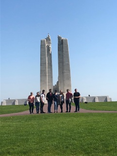 A group of choristers in front of the memorial at Vimy Ridge (pic by Rachel)