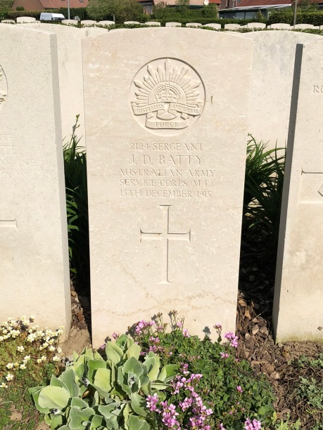 The grave of Sergeant JD Batty, the first Australian to die on the Western Front during WW1 (pic by Brian).