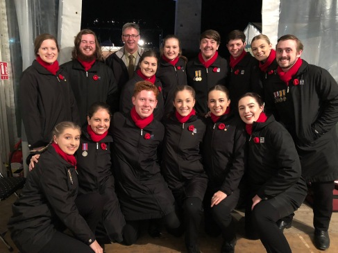 Some of the choir with Major Matt Chilmead, Conductor of the Australian Army Band (pic by Rachel)