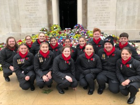 In front of the beautiful display of wreaths (pic from Georgia)