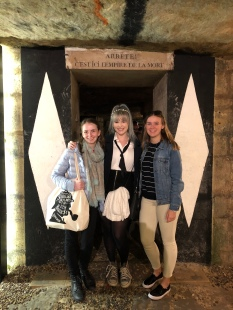 Adiya, Rianna and Caitlin exploring the catacombs (from Adiya)