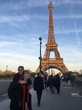 Caitlin with Rianna and the Eiffel Tower (pic by Adiya)