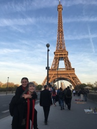 Caitlin with Rianna and the Eiffel Tower (pic by Adiya)