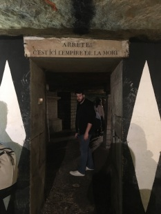 Phillip explore the Catacombs, Paris (Pic by Kerry)