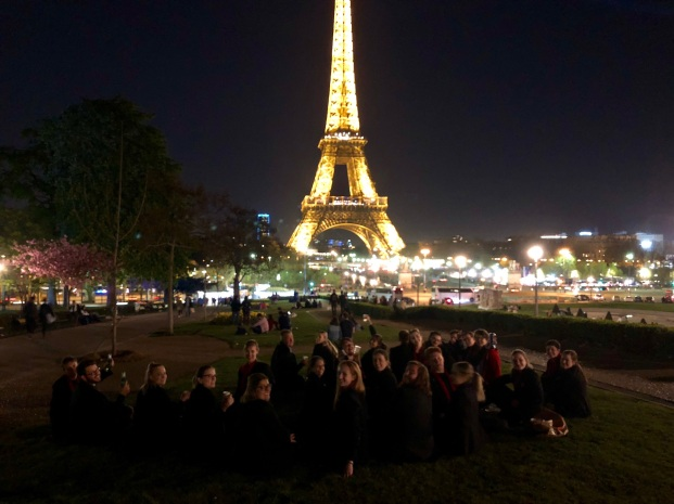 Our choir enjoy the light show at the Eiffel Tower (pic by Tilly)