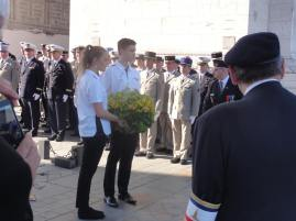 Heather and Ryan lay the wreath for Voices of Birralee (pic by Michael).