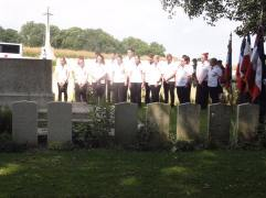 British cemetery at Halloy-lès-Pernois service (pic by Michael)