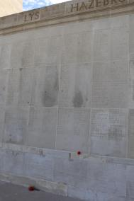 The Australian National Memorial wall where Mark and Maddie's ancestors' names are inscribed (pic by Maddie)