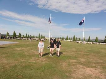 Catherine, Jane and Brendan with Peppie at the Australian National Memorial (pic by Michael)