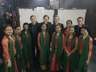 Tilly, Kate, Amirah and Maree with some of the Youth & Children Choral Choir Cordana.
